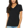 Bella + Canvas Womens Relaxed Jersey Short Sleeve V-Neck T-Shirt - Black