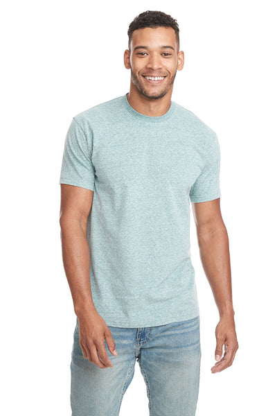 Next Level 6407 Mens Sueded Short Sleeve Crewneck T-Shirt Heather Green Front