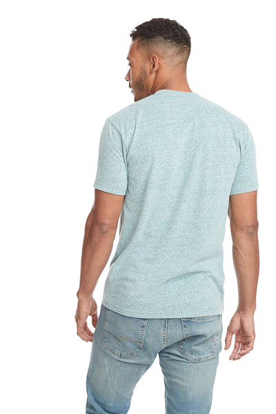 Next Level 6407 Mens Sueded Short Sleeve Crewneck T-Shirt Heather Green Back
