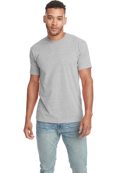 Next Level 6407 Mens Sueded Short Sleeve Crewneck T-Shirt Heather Grey Front