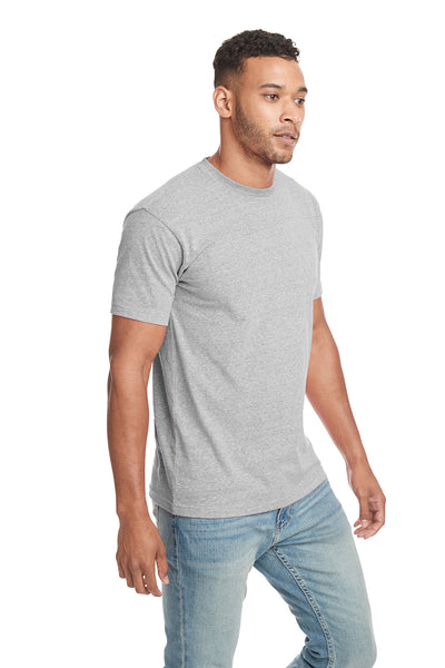 Next Level 6407 Mens Sueded Short Sleeve Crewneck T-Shirt Heather Grey Side