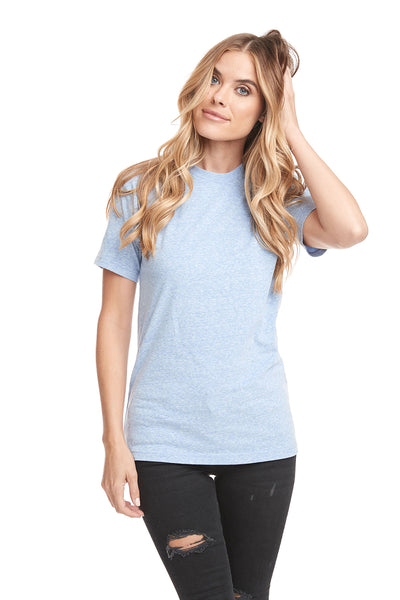 Next Level 6407 Mens Sueded Short Sleeve Crewneck T-Shirt Heather Blue Front