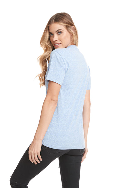 Next Level 6407 Mens Sueded Short Sleeve Crewneck T-Shirt Heather Blue Back