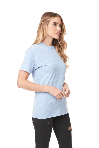 Next Level 6407 Mens Sueded Short Sleeve Crewneck T-Shirt Heather Blue Side