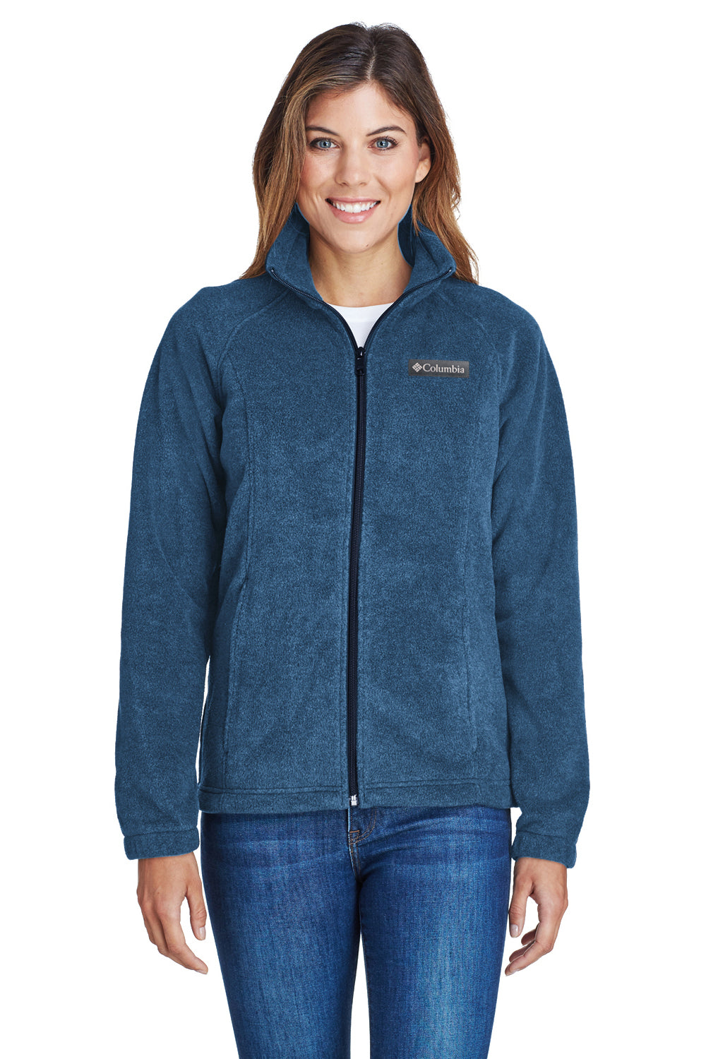 Columbia 6439 Womens Benton Springs Full Zip Fleece Jacket Navy Blue Front