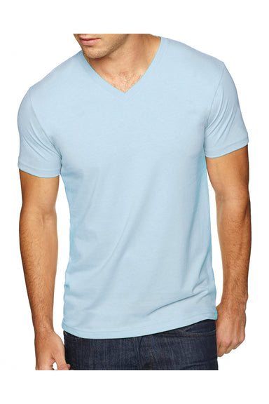Next Level 6440 Mens Sueded Jersey Short Sleeve V-Neck T-Shirt Light Blue Front