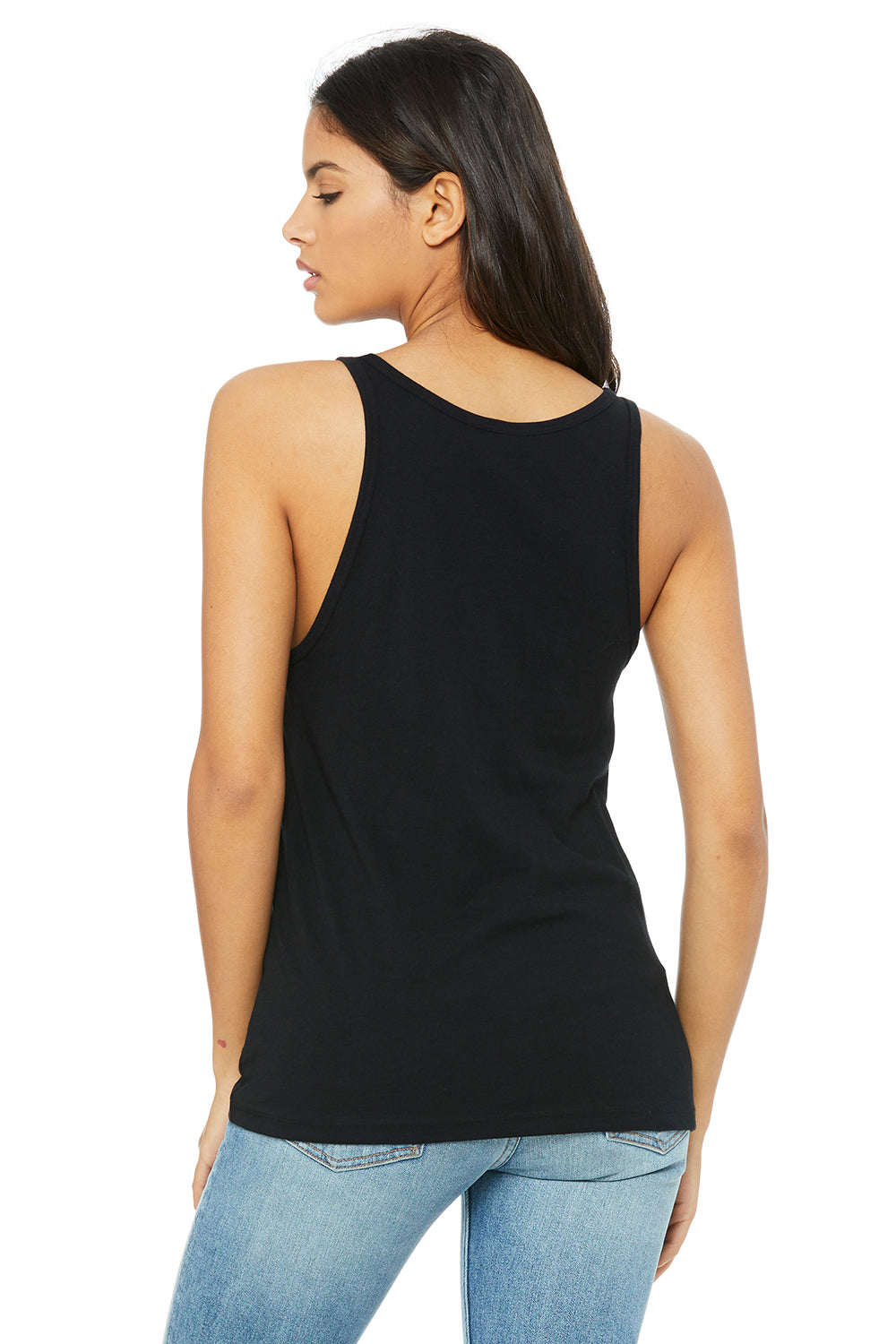 Bella + Canvas 6488 Womens Relaxed Jersey Tank Top Black Back