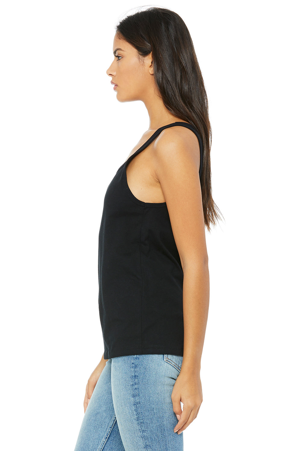 Bella + Canvas 6488 Womens Relaxed Jersey Tank Top Black Side