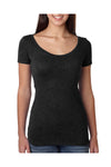 Next Level 6730 Womens Jersey Short Sleeve Scoop Neck T-Shirt Black Front