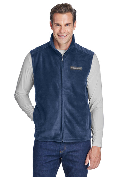Columbia 6747 Mens Steens Mountain Full Zip Fleece Vest Navy Blue Front