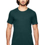 Anvil Mens Heather Dark Green Short Sleeve Crewneck T-Shirt