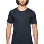 Anvil Mens Heather Navy Blue Short Sleeve Crewneck T-Shirt