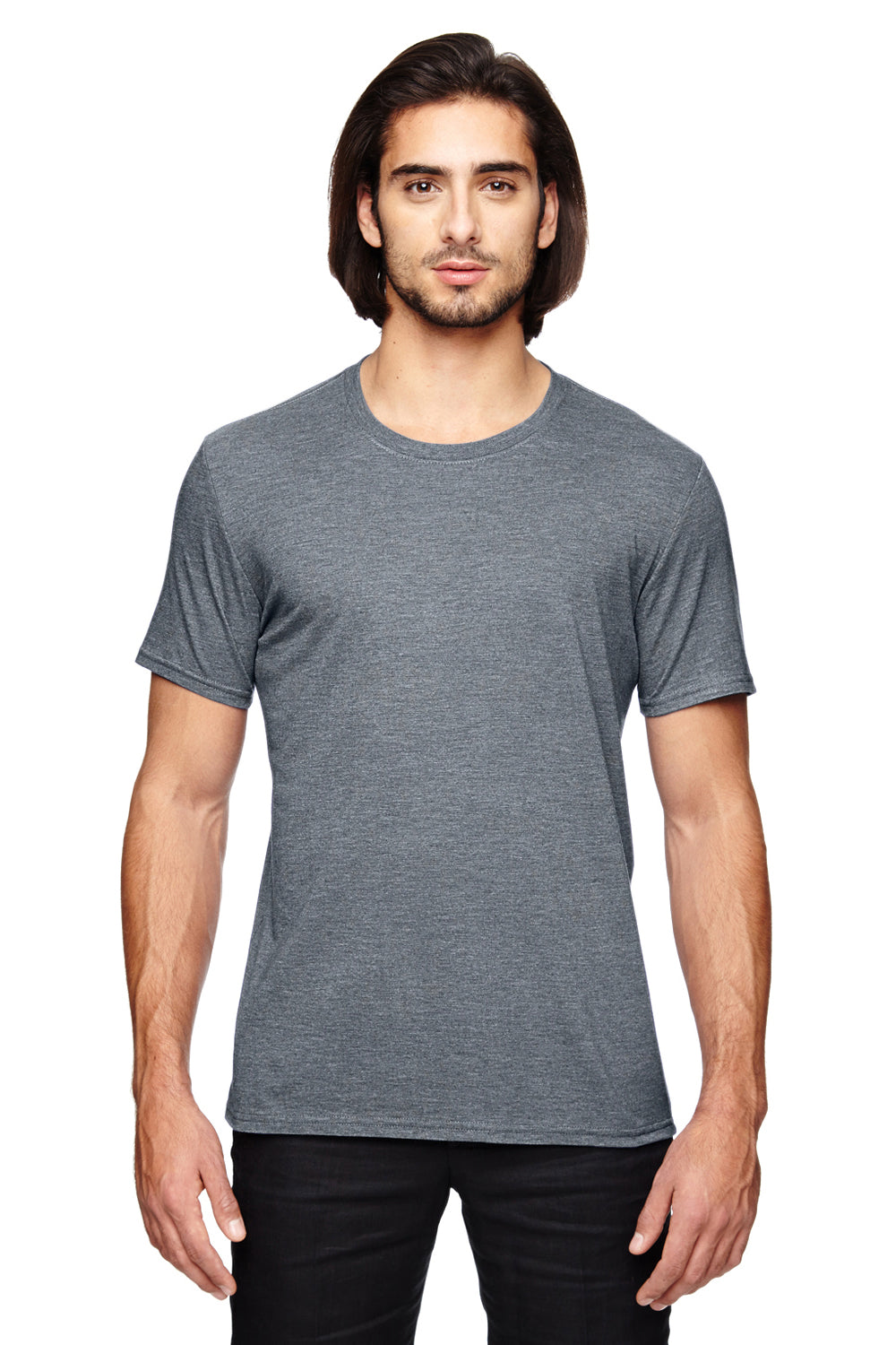 Anvil 6750 Mens Short Sleeve Crewneck T-Shirt Heather Graphite Grey Front