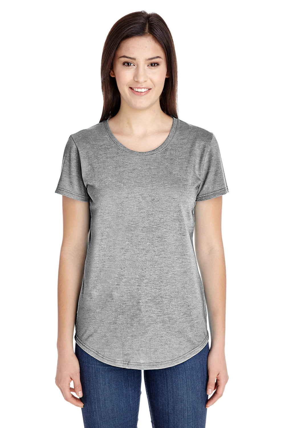 Anvil 6750L Womens Short Sleeve Crewneck T-Shirt Heather Grey Front