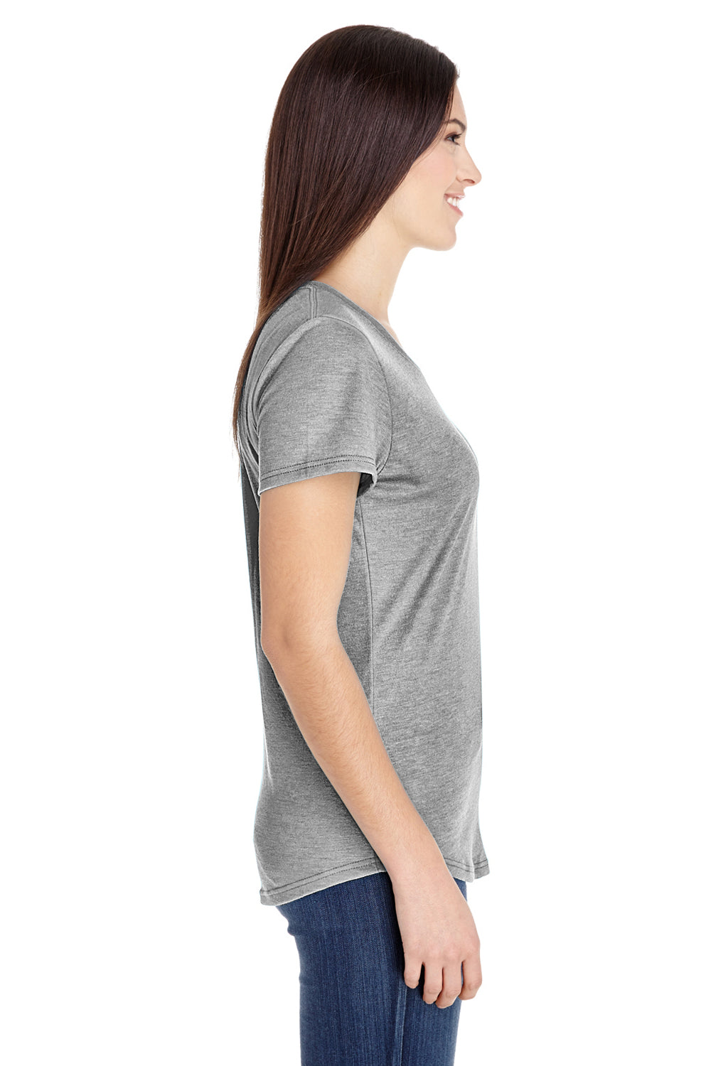 Anvil 6750L Womens Short Sleeve Crewneck T-Shirt Heather Grey Side