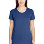 Anvil Womens Heather Blue Short Sleeve Crewneck T-Shirt