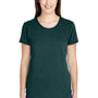 Anvil Womens Heather Dark Green Short Sleeve Crewneck T-Shirt