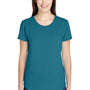 Anvil Womens Heather Galapagos Blue Short Sleeve Crewneck T-Shirt