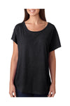 Next Level 6760 Womens Dolman Jersey Short Sleeve Scoop Neck T-Shirt Black Front