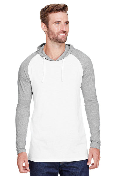 LAT 6917 Mens Fine Jersey Hooded Sweatshirt White/Heather Grey Front