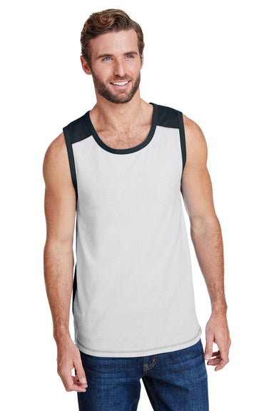 LAT 6919 Mens Contrast Back Tank Top White/Black Front