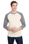 LAT 6930 Mens Fine Jersey Baseball 3/4 Sleeve Crewneck T-Shirt Heather Natural/Granite Grey Front