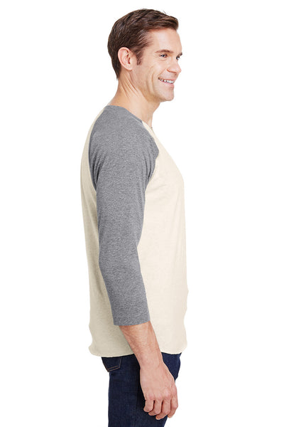 LAT 6930 Mens Fine Jersey Baseball 3/4 Sleeve Crewneck T-Shirt Heather Natural/Granite Grey Side