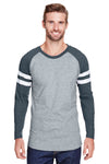 LAT 6934 Mens Gameday Mash Up Fine Jersey Long Sleeve Crewneck T-Shirt Heather Vintage Grey/Navy Blue Front