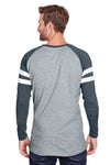 LAT 6934 Mens Gameday Mash Up Fine Jersey Long Sleeve Crewneck T-Shirt Heather Vintage Grey/Navy Blue Back