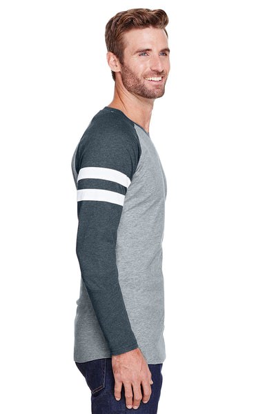 LAT 6934 Mens Gameday Mash Up Fine Jersey Long Sleeve Crewneck T-Shirt Heather Vintage Grey/Navy Blue Side