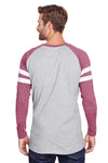 LAT 6934 Mens Gameday Mash Up Fine Jersey Long Sleeve Crewneck T-Shirt Heather Vintage Grey/Red Back