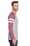 LAT 6934 Mens Gameday Mash Up Fine Jersey Long Sleeve Crewneck T-Shirt Heather Vintage Grey/Red Side
