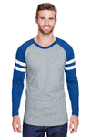 LAT 6934 Mens Gameday Mash Up Fine Jersey Long Sleeve Crewneck T-Shirt Heather Vintage Grey/Royal Blue Front