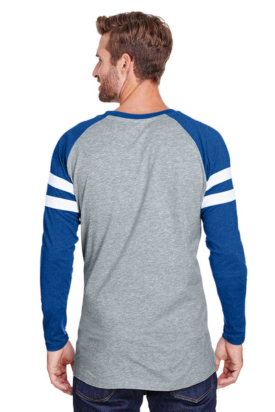LAT 6934 Mens Gameday Mash Up Fine Jersey Long Sleeve Crewneck T-Shirt Heather Vintage Grey/Royal Blue Back