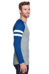 LAT 6934 Mens Gameday Mash Up Fine Jersey Long Sleeve Crewneck T-Shirt Heather Vintage Grey/Royal Blue Side