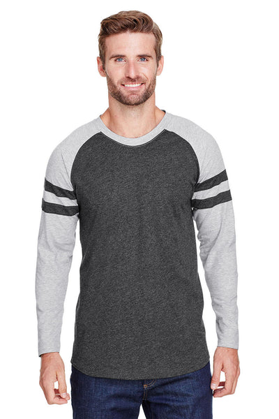LAT 6934 Mens Gameday Mash Up Fine Jersey Long Sleeve Crewneck T-Shirt Vintage Smoke Grey/Heather Grey Front
