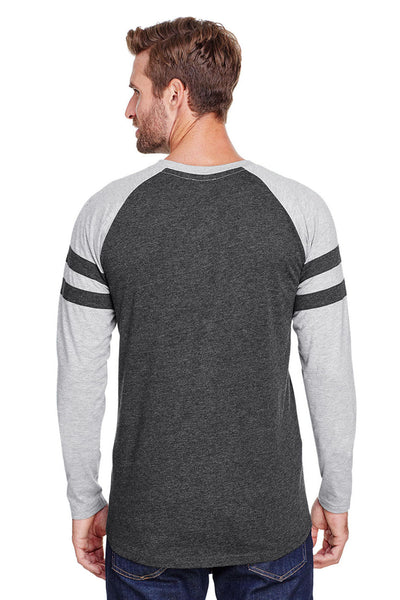 LAT 6934 Mens Gameday Mash Up Fine Jersey Long Sleeve Crewneck T-Shirt Vintage Smoke Grey/Heather Grey Back