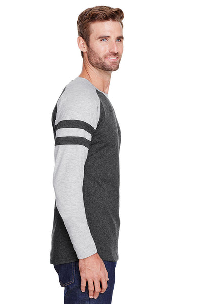 LAT 6934 Mens Gameday Mash Up Fine Jersey Long Sleeve Crewneck T-Shirt Vintage Smoke Grey/Heather Grey Side