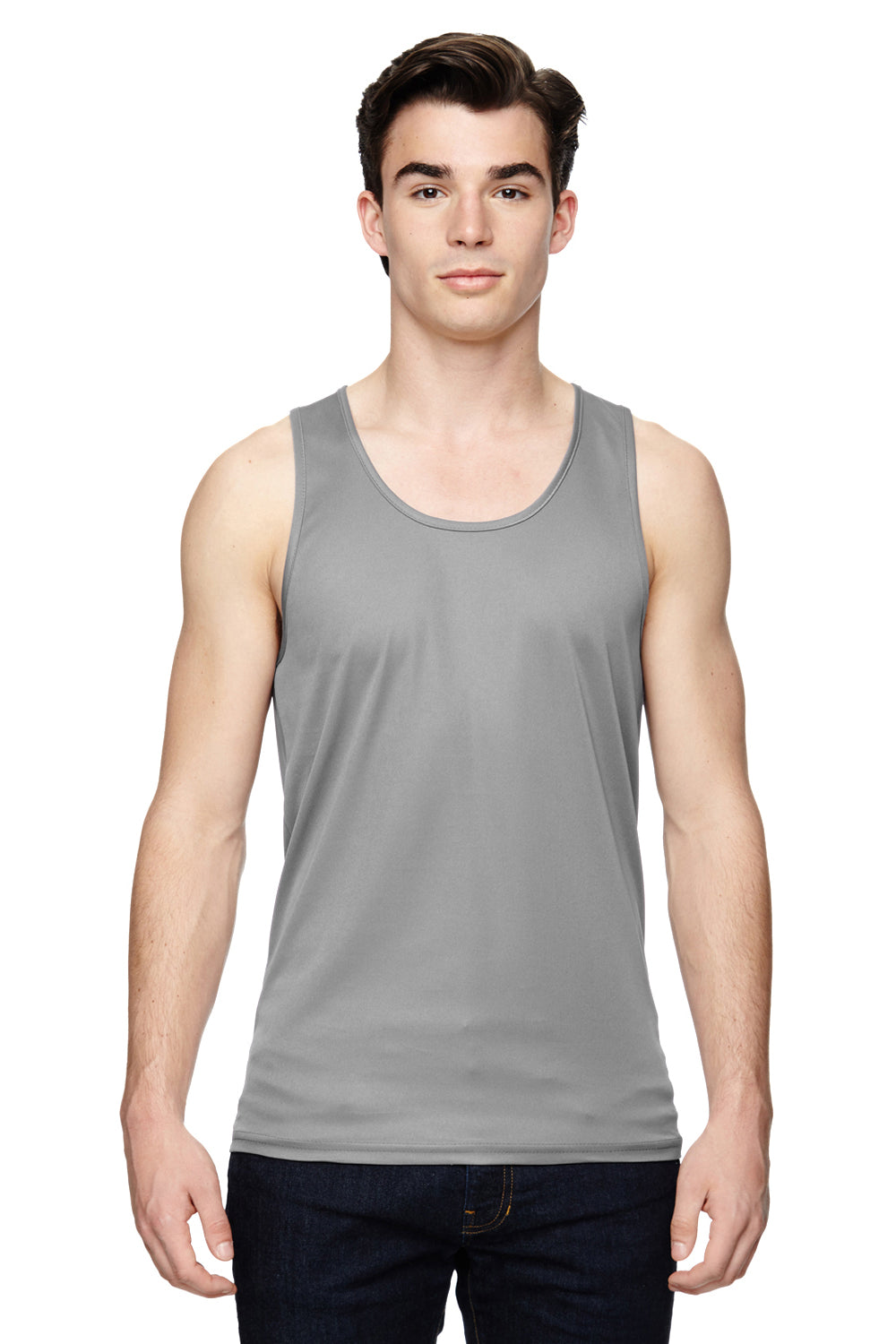 Augusta Sportswear 703 Mens Training Moisture Wicking Tank Top Silver Grey Front