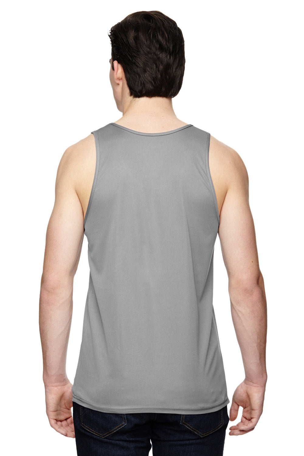 Augusta Sportswear 703 Mens Training Moisture Wicking Tank Top Silver Grey Back