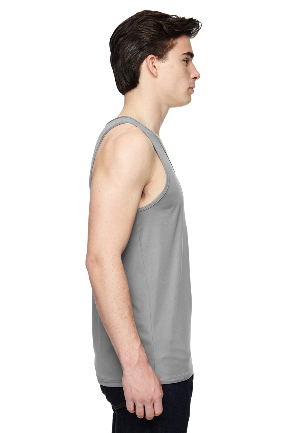 Augusta Sportswear 703 Mens Training Moisture Wicking Tank Top Silver Grey Side
