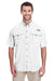 Columbia 7047 Mens Bahama II Moisture Wicking Short Sleeve Button Down Shirt w/ Double Pockets White Front