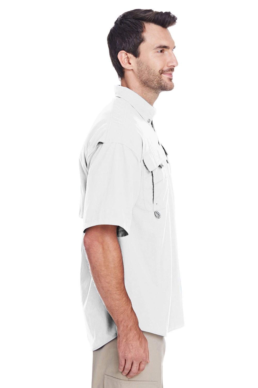 Columbia 7047 Mens Bahama II Moisture Wicking Short Sleeve Button Down Shirt w/ Double Pockets White Side