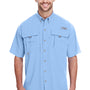 Columbia Mens Bahama II Moisture Wicking Short Sleeve Button Down Shirt w/ Double Pockets - Sail Blue