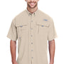 Columbia Mens Bahama II Moisture Wicking Short Sleeve Button Down Shirt w/ Double Pockets - Fossil