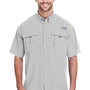 Columbia Mens Bahama II Moisture Wicking Short Sleeve Button Down Shirt w/ Double Pockets - Cool Grey