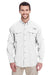 Columbia 7048 Mens Bahama II Moisture Wicking Long Sleeve Button Down Shirt w/ Double Pockets White Front