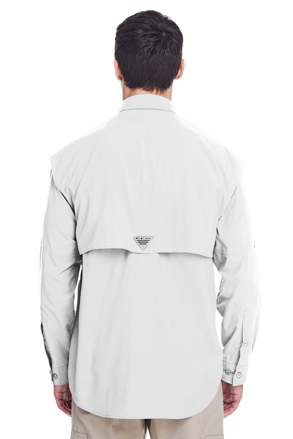 Columbia 7048 Mens Bahama II Moisture Wicking Long Sleeve Button Down Shirt w/ Double Pockets White Back