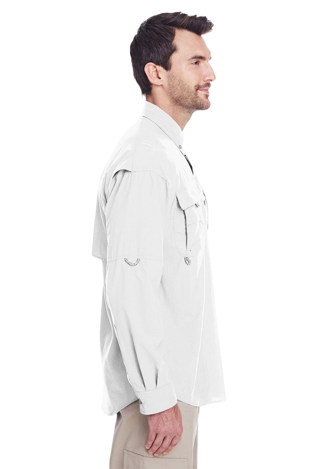 Columbia 7048 Mens Bahama II Moisture Wicking Long Sleeve Button Down Shirt w/ Double Pockets White Side
