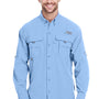 Columbia Mens Bahama II Moisture Wicking Long Sleeve Button Down Shirt w/ Double Pockets - Sail Blue